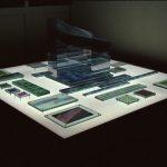 """gene 10"" - 1995 / ohp film print, acrylic sheets, acrylic half mirror, on light box / 199 x 199 x 125 cm"