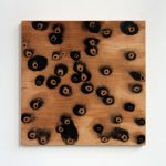 """jiba ki 9"" - 2013 / magnet, pigment, lack, oil on wood / 60 x 60 x 5 cm"