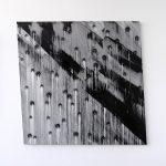 """jiba pt 20"" - 2012 / magnet, pigment, oil on canvas / 120 x 120 cm"