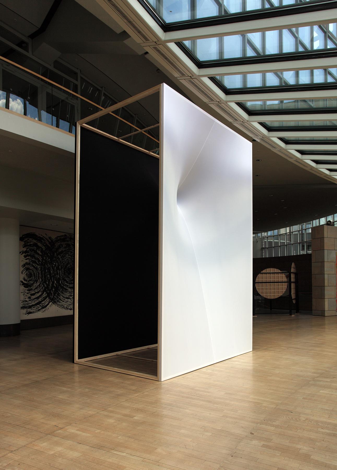 """JIBA SN"" 2014 Magnet, cloth, wood / 460 x 300 x 200cm Nordrhein-Westfalen, NRW Landtag, Düsseldorf, Germany"
